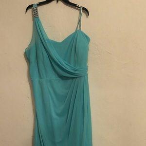 Aqua long dress for Curvy Woman 22x